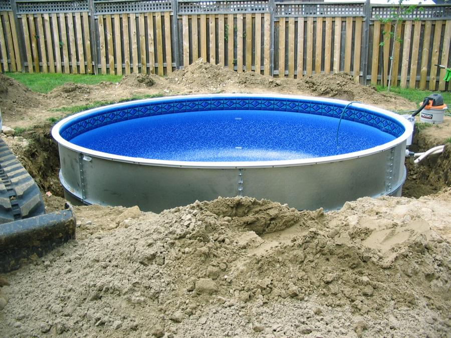 Eternity 27 ft round semi inground pool basic package pool supplies canada for Best semi inground swimming pools